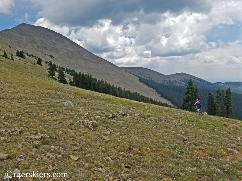 Mountain biking Fairview Peak near Fossil Ridge in Colorado.