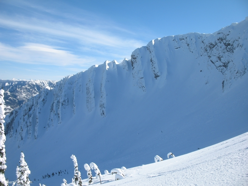 Backcountry skiing at Fernie, British Columbia.