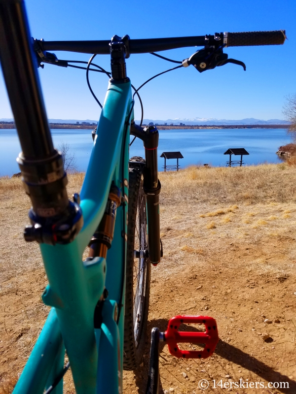 Biking at Cherry Creek State Park after ACL revision surgery.