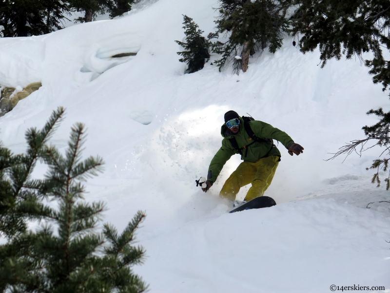 snowboarding Steamboat backcountry