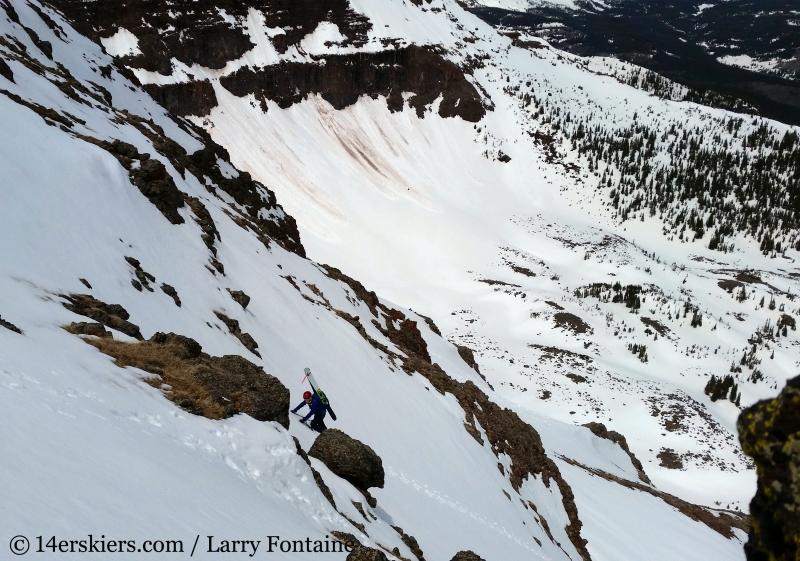 Brittany Konsella backcountry skiing Flat Top Mountain.