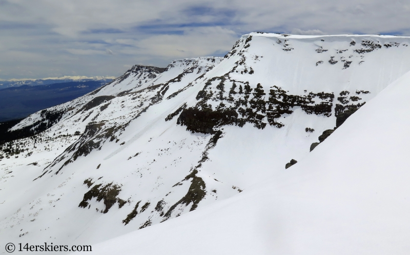 Backcountry ski lines in the Flat Top Range of Colorado.