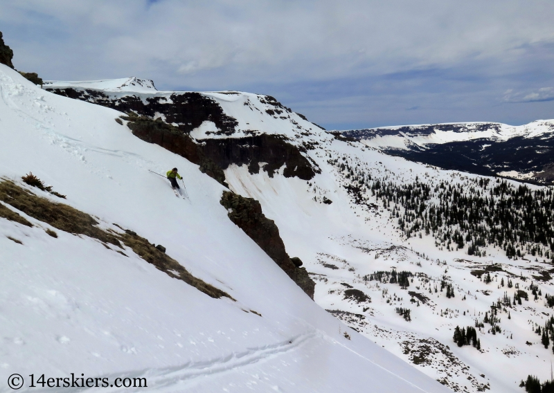 Larry Fontaine backcountry skiing Flat Top Mountain in Colorado.