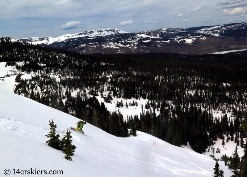 Marko Ross-Bryant backcountry snowboarding Flat Top Mountain in Colorado.