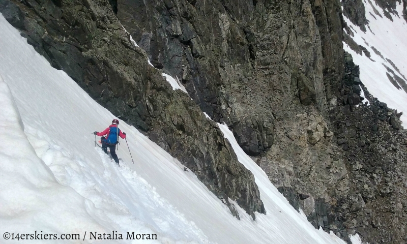 Brittany Walker Konsella skiing Fletcher Mountain Northeast Couloirs.