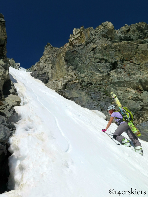 Natalie Moran climbing Fletcher Mountain Northeast Couloirs.