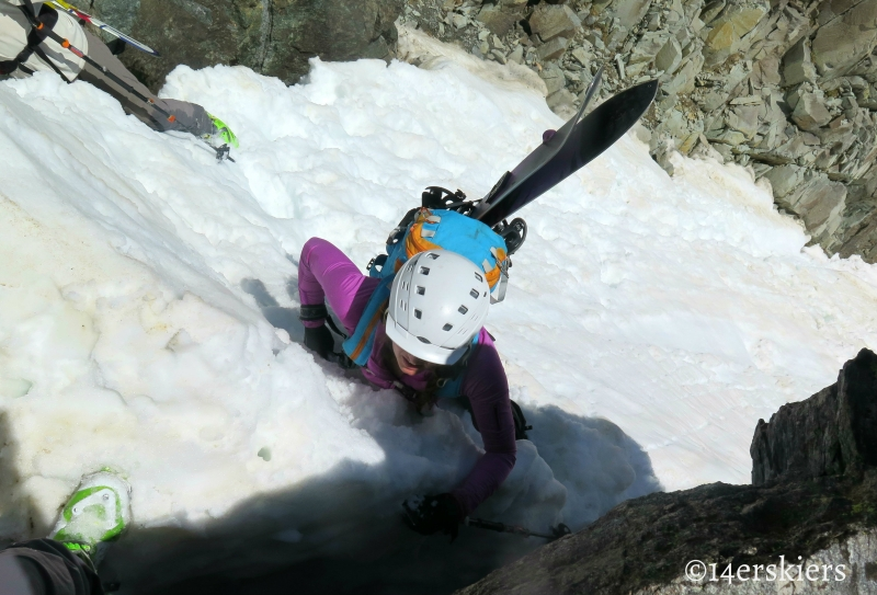 Jessica Martin climbing Flecher Mountain Northeast Couloirs.