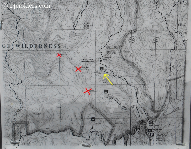 Map of southern Fossil Ridge Wilderness