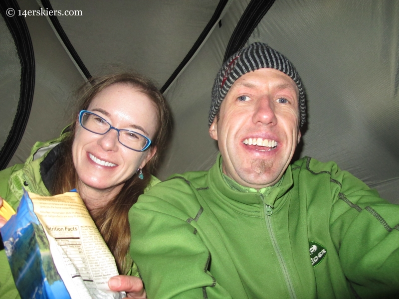 Mountain House meals in our Big Agnes Tent