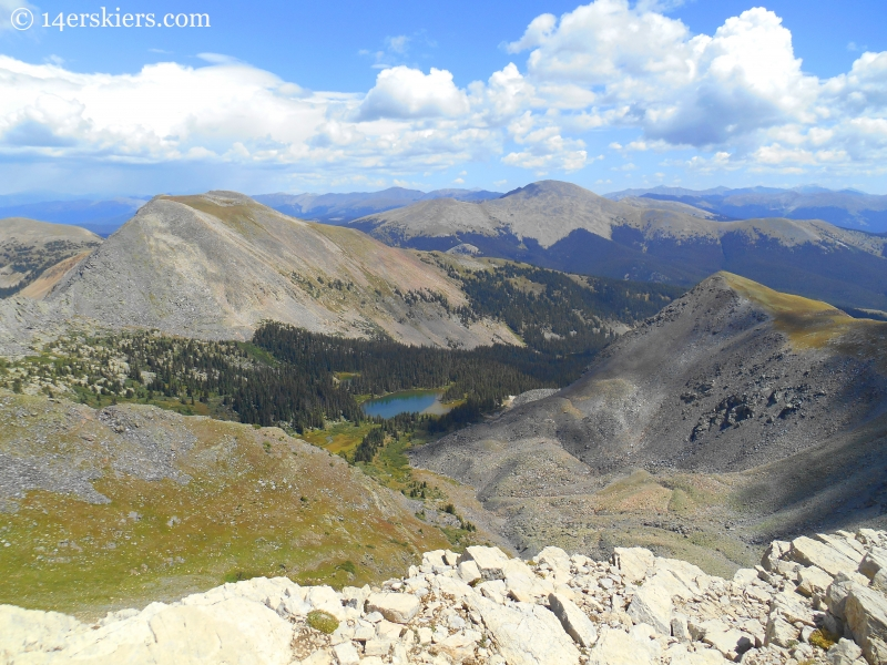Lamphier Lake and Broncho while climbing Square Top, Henry, and Fossil Mountains