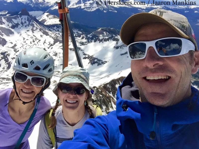 Natalie Moran, Brittany Walker Konsella, and Jaaron Mankins on the summit of Gladstone Peak.