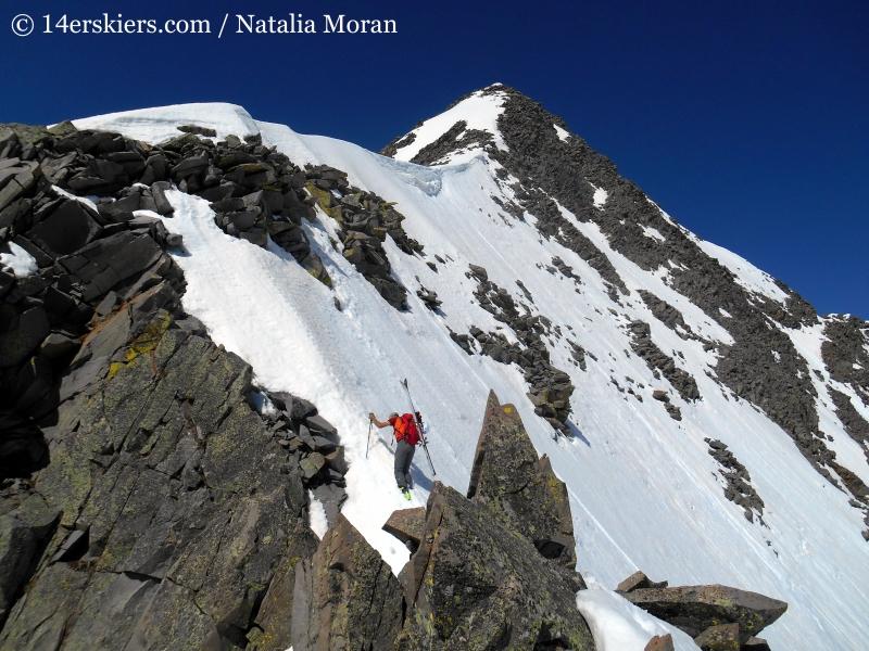 Climbing the ridge to go backcountry skiing on Gladstone Peak.