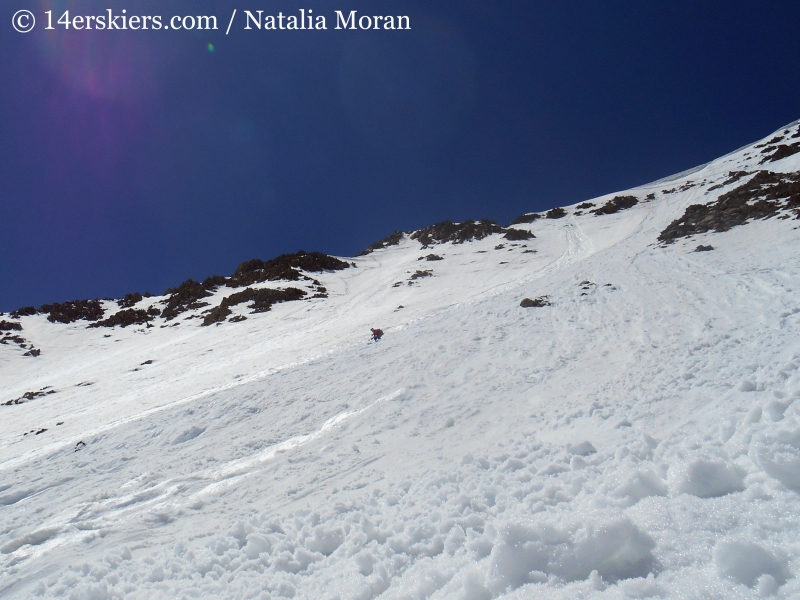Brittany Walker Konsella backcountry skiing on Gladstone Peak.