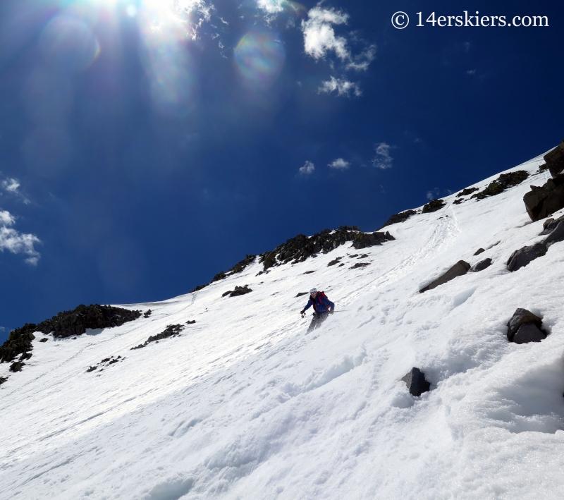 Jaaron Mankins backcountry skiing on Gladstone Peak.