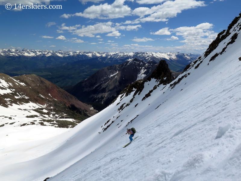 Natalie Moran backcountry skiing on Gladstone Peak.