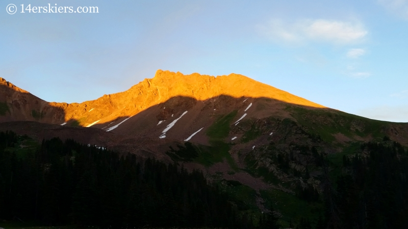 Snow Peak at sunset in the Gore Range.