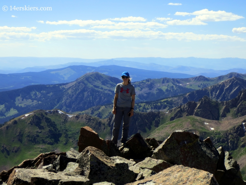 Natalia Moran on the summit of Grand Traverse Peak.