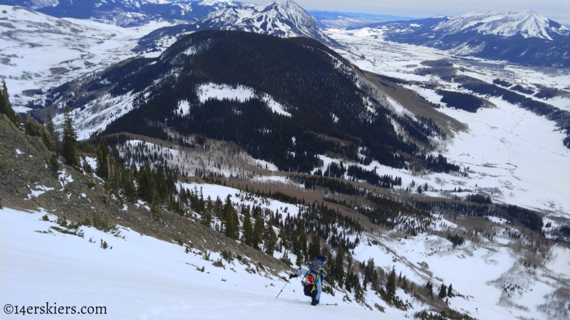 backcountry skiing on Gothic Mountain