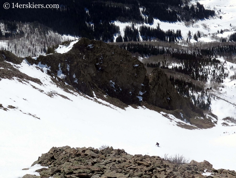 Mark Robbins backcountry skiing on the Gothic Spoon.