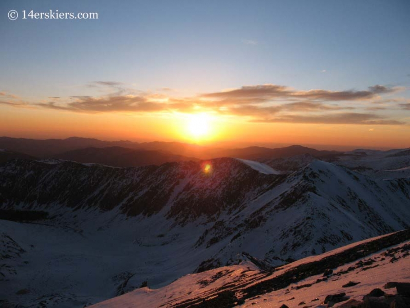 Sunrise seen from the summit of Grays Peak.