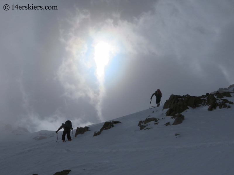 Approaching Fakie Saddle while backountry skiing near Green Wilson Hut.