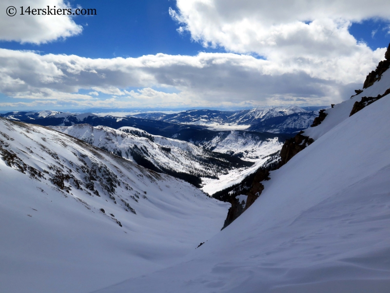 View toward Crested Butte from Fakie Saddle near Green Wilson Hut