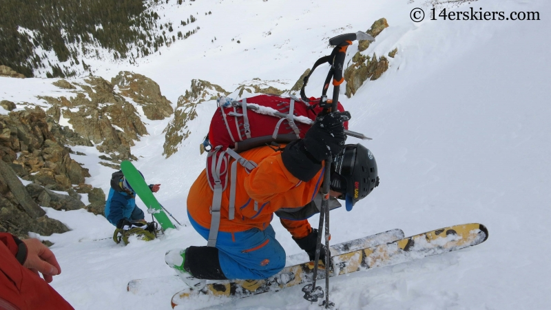Getting ready for backcountry skiing on Grizzly Couloir.