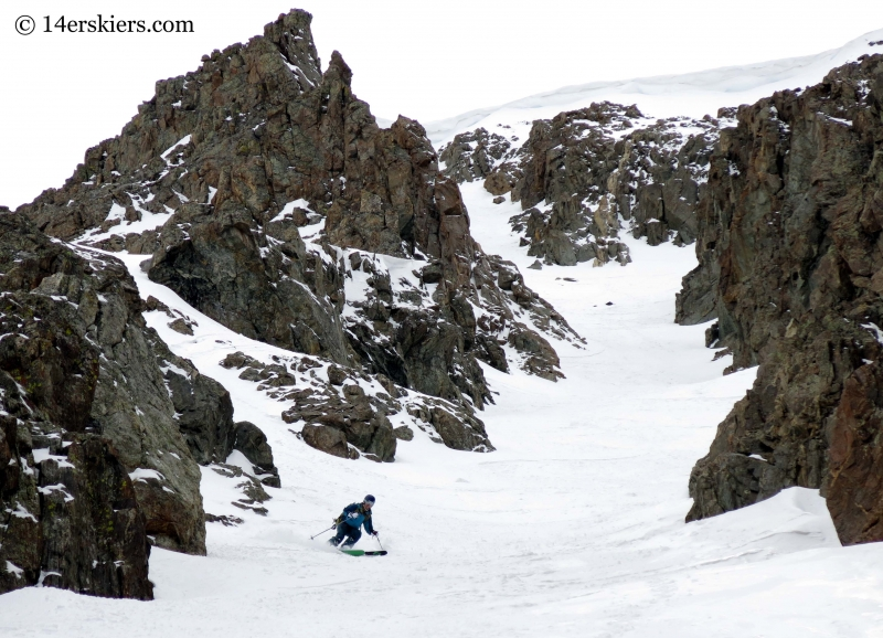 Brittany Walker Konsella backcountry skiing Grizzly Couloir.