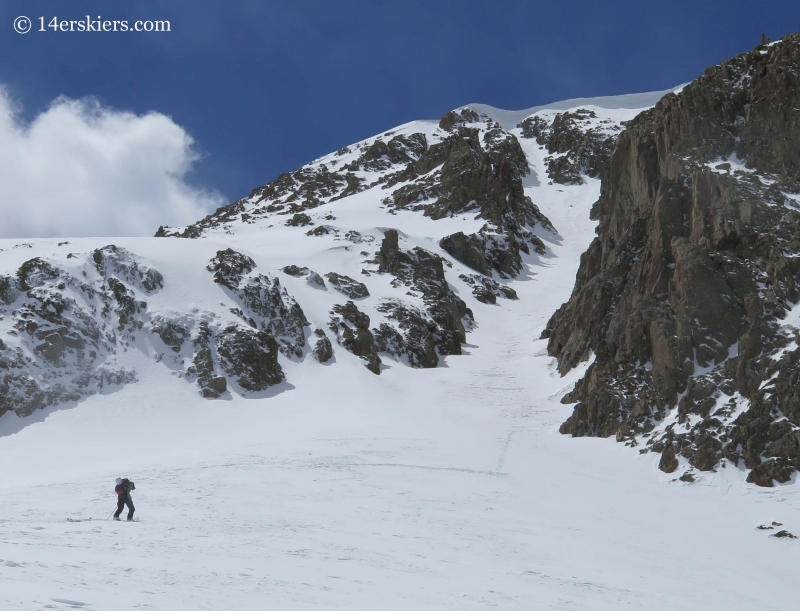 Backcountry skiing on Grizzly Couloir