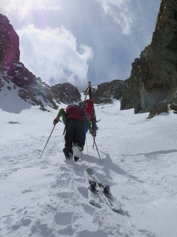 Frank Konsella and Gary Fondl climbing Grizzly couloir to go backcountry skiing.
