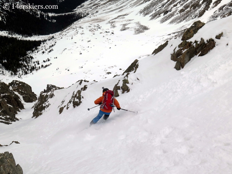 Gary Fondl backcountry skiing Grizzly Couloir.