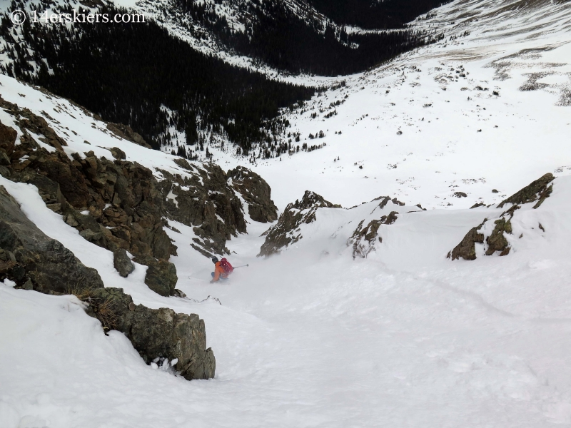 Gary Fondl backcountry skiing Grizzly Peak Couloir.