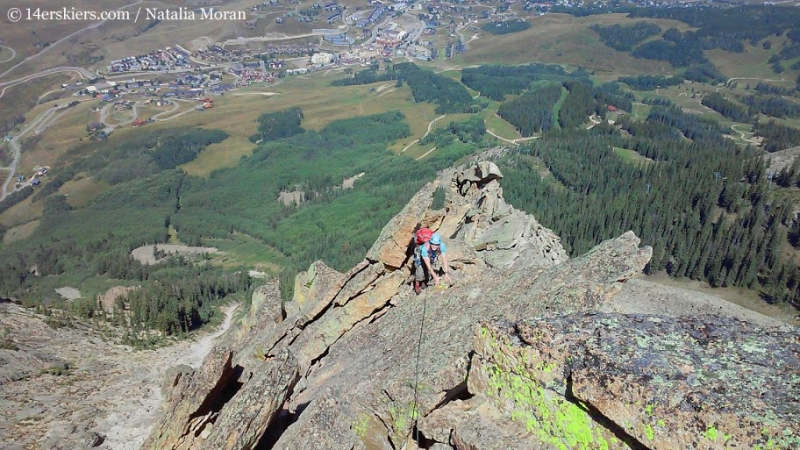 Brittany Konsella climbing Guides Ridge on Mount Crested Butte