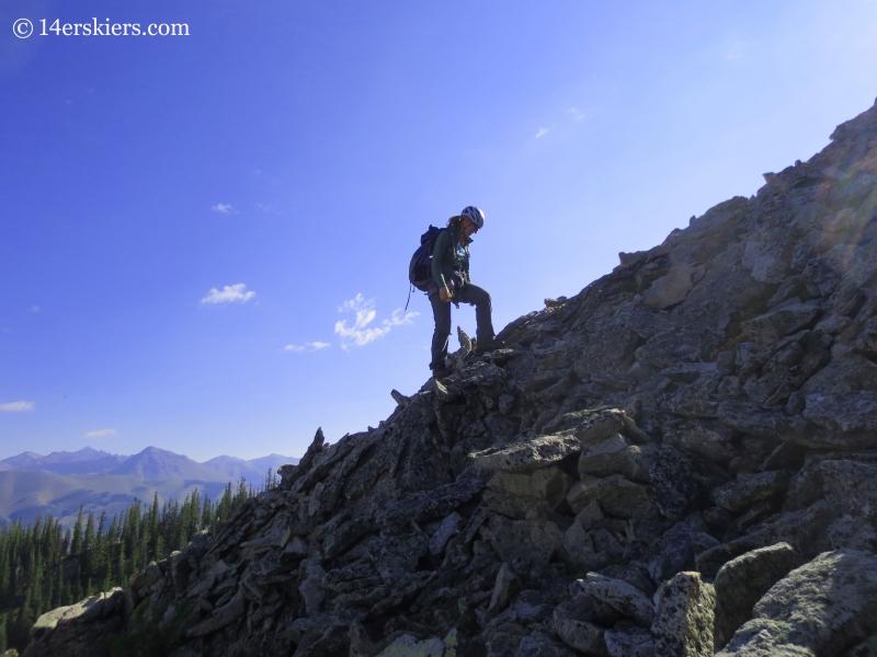 Natalia Moran approaching Guides Ridge.