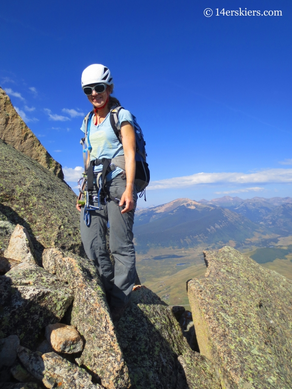 Natalia Moran climbing Guides Ridge on Mount Crested Butte