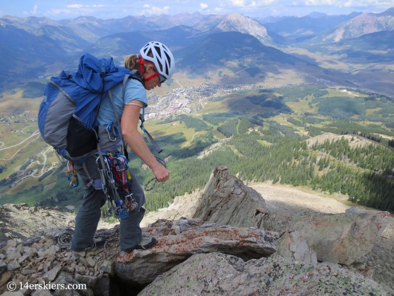 Natalia Moran climbing Guides Ridge on Mount Crested Butte