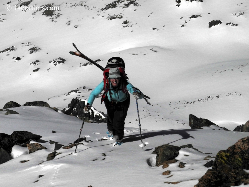 Brittany Konsella backcountry skiing on Hagar Mountian.