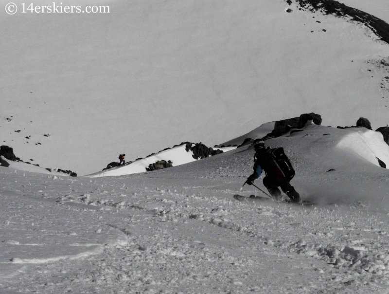 Brittany Konsella backcountry skiing on Hagar Mountain.
