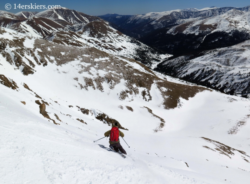 Alex backcountry skiing on Hagar Mountain.