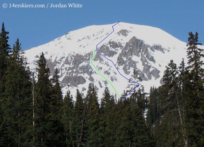 Backcountry skiing lines on the east face of Handies Peak.