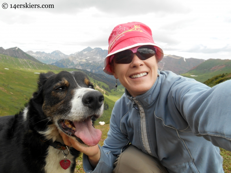 Eddy the dog & Brittany Konsella on top of Hasley Pass