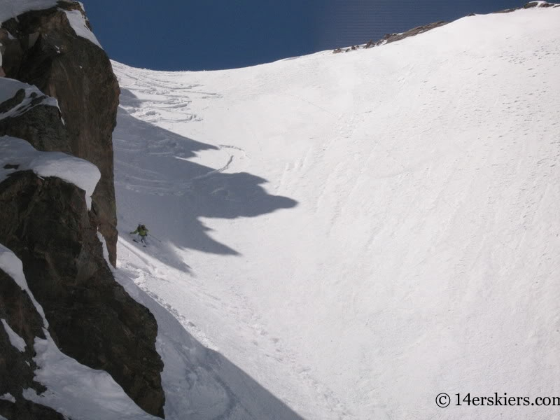 Brittany Walker Konsella backcountry skiing Cross Couloir on Holy Cross.