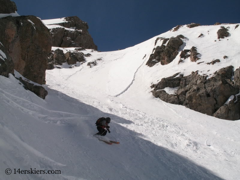 Jeremy Wegener backcountry skiing Cross Couloir on Holy Cross.