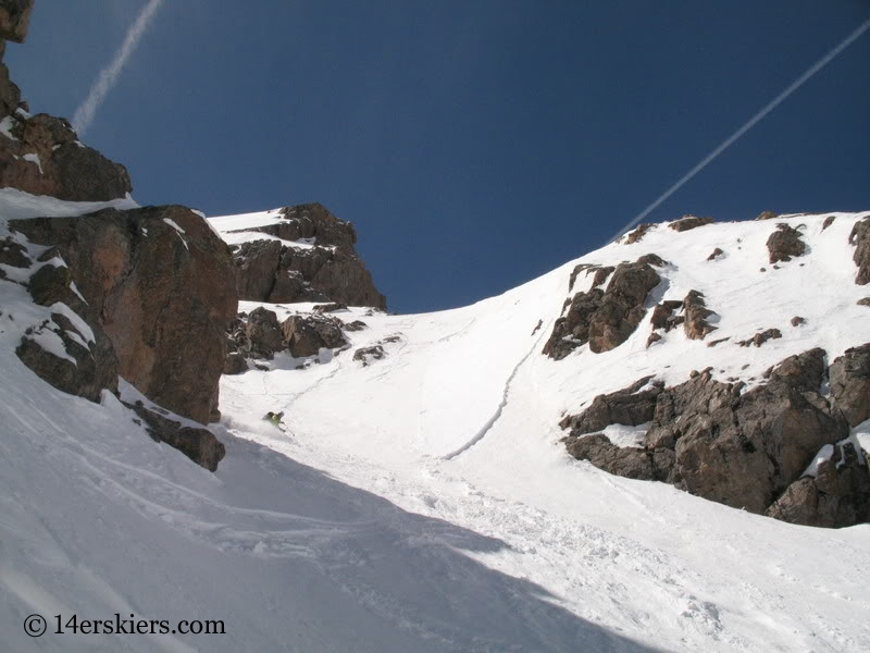 Brittany Walker Konsella backcountry skiing Cross Couloir on Holy Cross