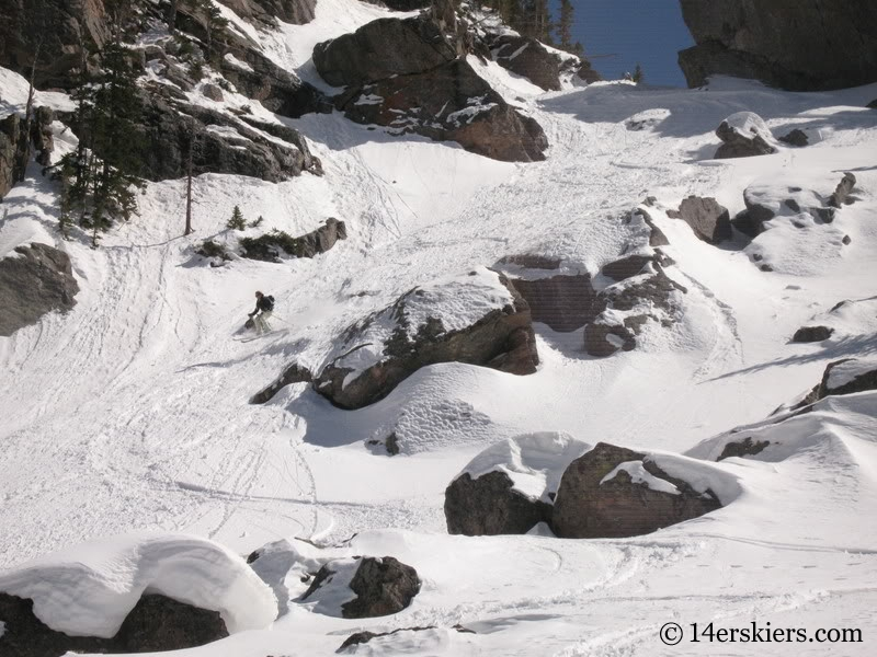 Kellie Baker backcountry skiing Cross Couloir on Holy Cross.