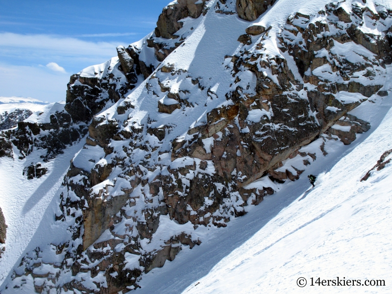 Frank Konsella backcountry skiing Cross Couloir on Holy Cross