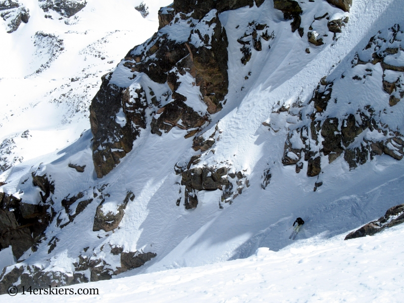 Kellie Baker backcountry skiing Cross Couloir on Mount of the Holy Cross