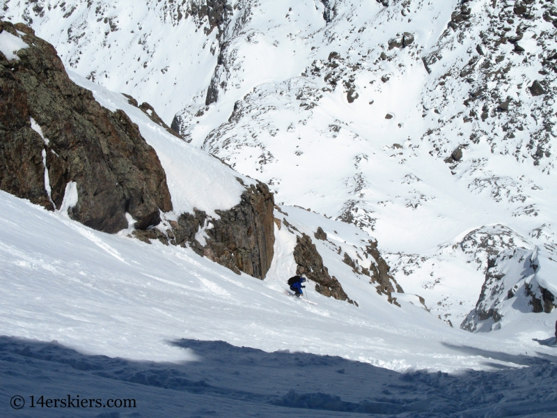 Pete Sowar backcountry skiing Cross Couloir on Holy Cross