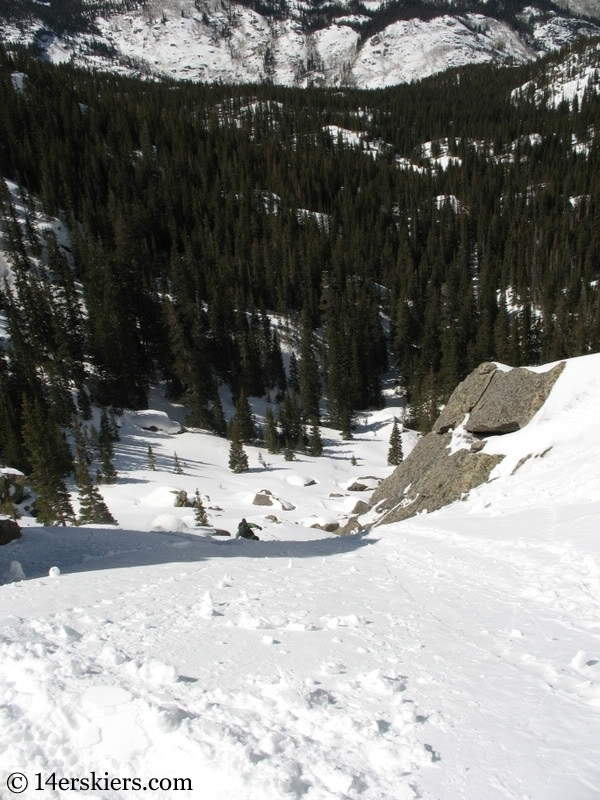 backcountry skiing Cross Couloir on Holy Cross