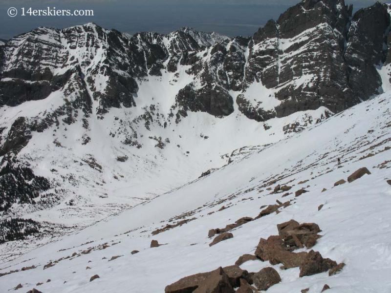 Backcountry skiing on Humboldt Peak.